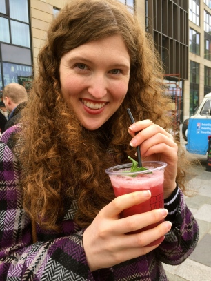 Drinks at an outdoor market in Edinburgh, near Waverley